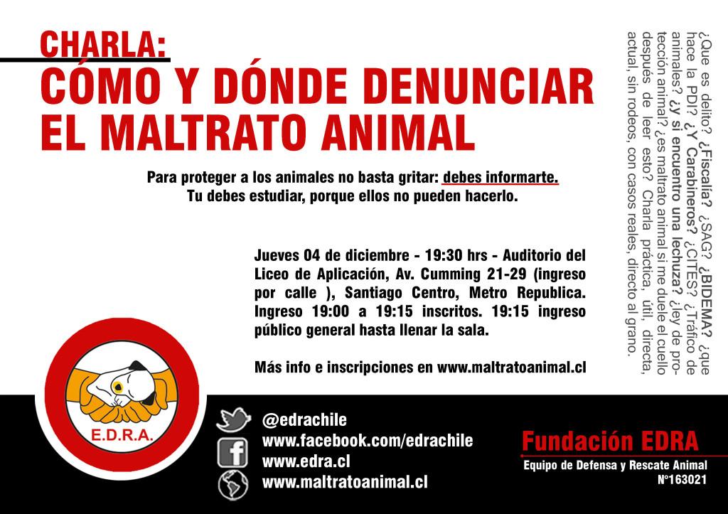 letrero charla Cómo y Dónde denunciar el maltrato animal